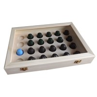 Box for coffee capsules with transparent lid