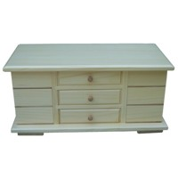 Large jewellery box with side drawers, varnished