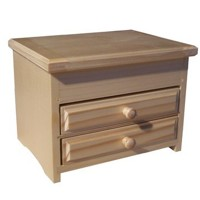 Angular jewellery box with two drawers, varnished