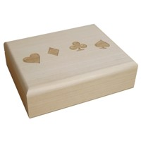 Wooden case for two sets of cards with engraving